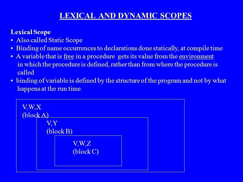 LEXICAL AND DYNAMIC SCOPES
