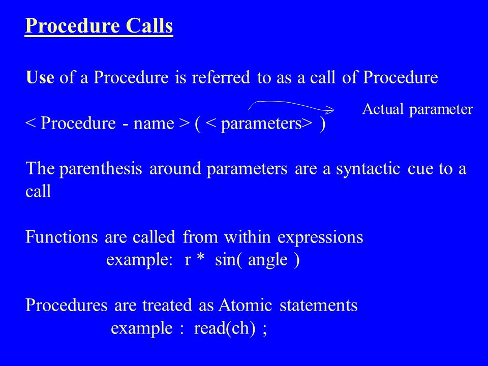 Procedure Calls Use of a Procedure is referred to as a call of Procedure. < Procedure - name > ( < parameters> )