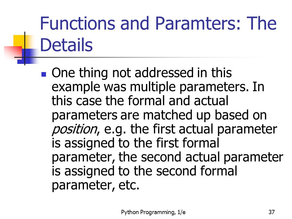 Functions and Paramters: The Details