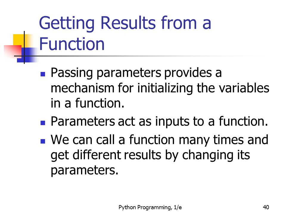 Getting Results from a Function