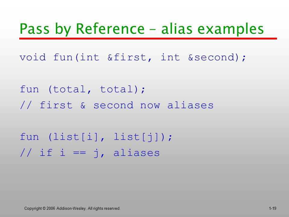 Pass by Reference – alias examples
