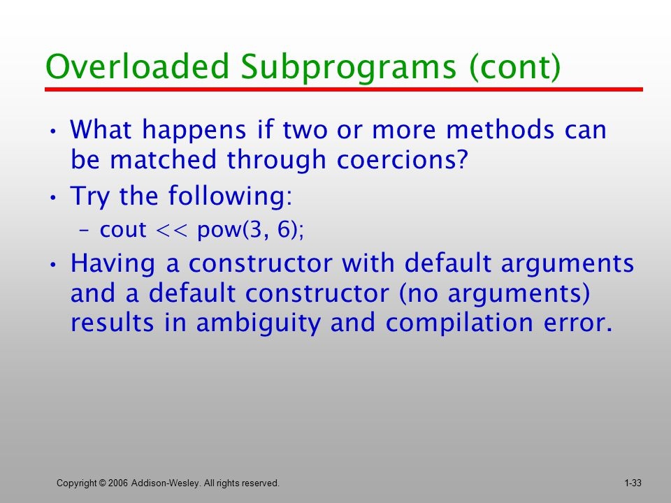 Overloaded Subprograms (cont)