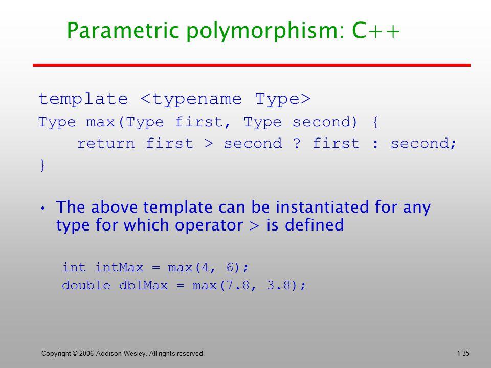 Parametric polymorphism: C++