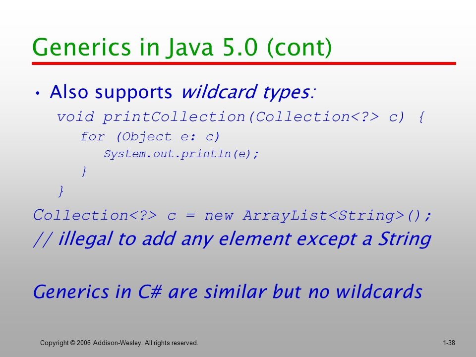 Generics in Java 5.0 (cont)