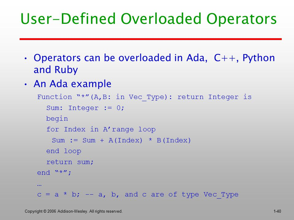 User-Defined Overloaded Operators
