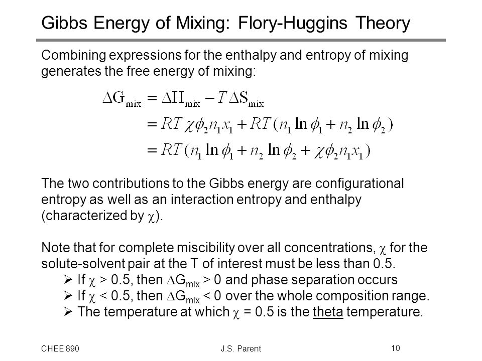 Gibbs Energy of Mixing: Flory-Huggins Theory