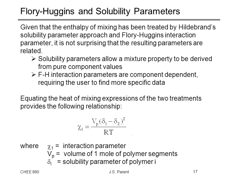 Flory-Huggins and Solubility Parameters