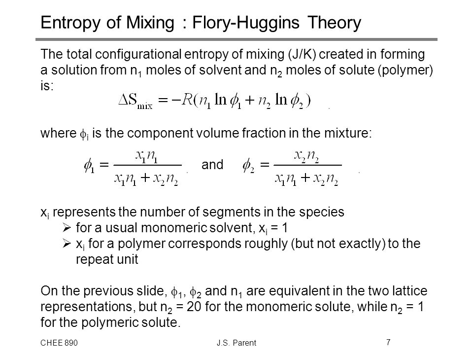 Entropy of Mixing : Flory-Huggins Theory