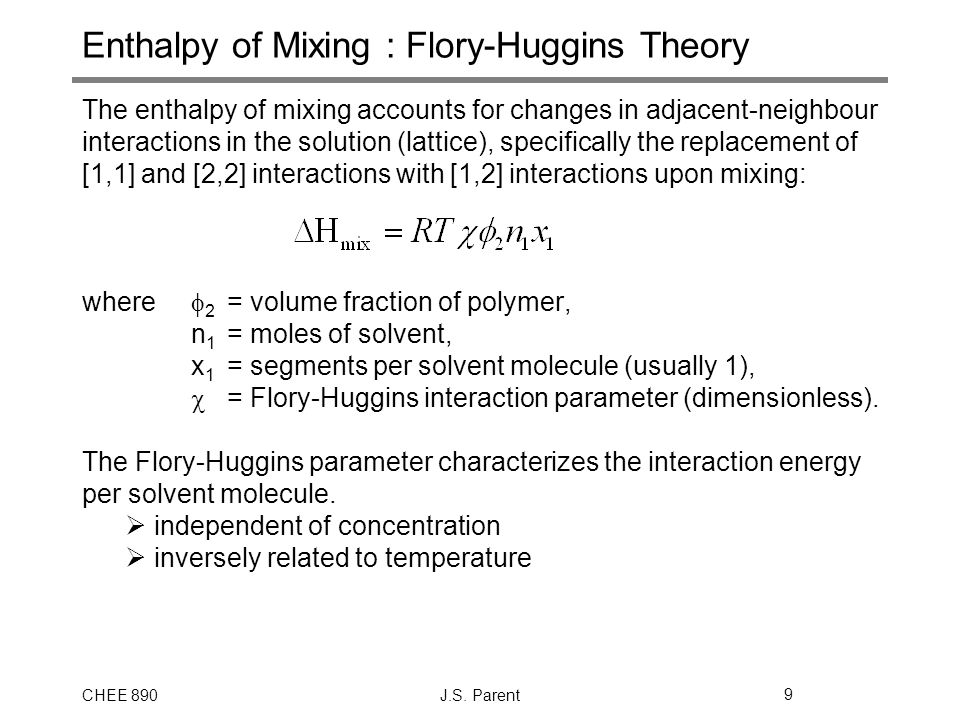 Enthalpy of Mixing : Flory-Huggins Theory
