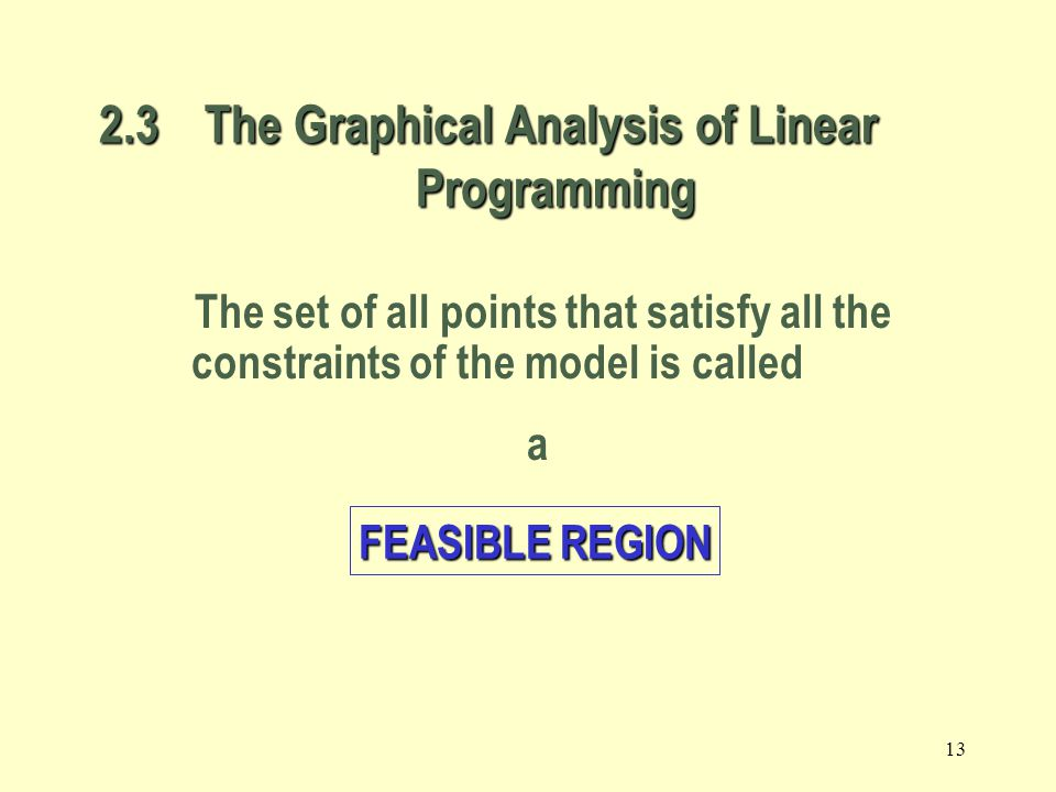 2.3 The Graphical Analysis of Linear Programming