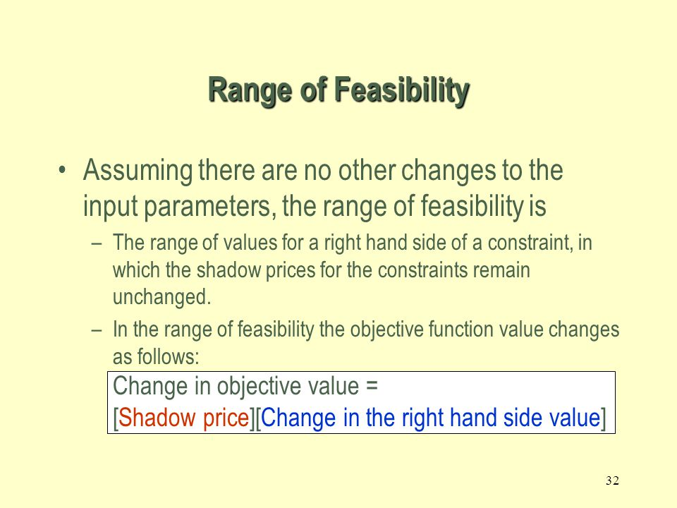 Range of Feasibility Assuming there are no other changes to the input parameters, the range of feasibility is.