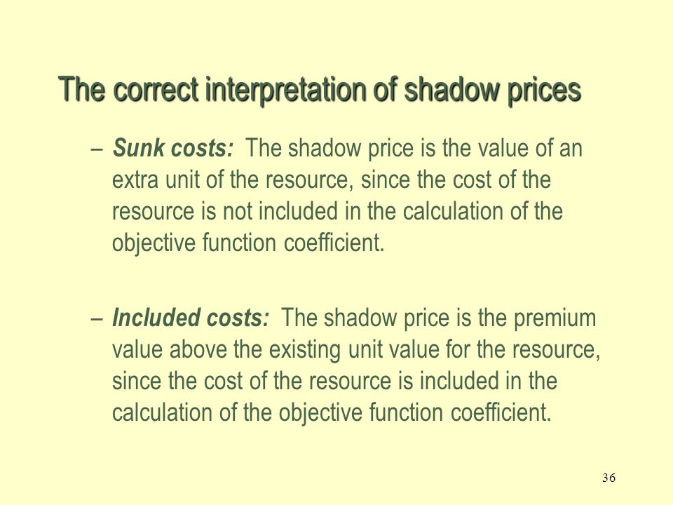 The correct interpretation of shadow prices
