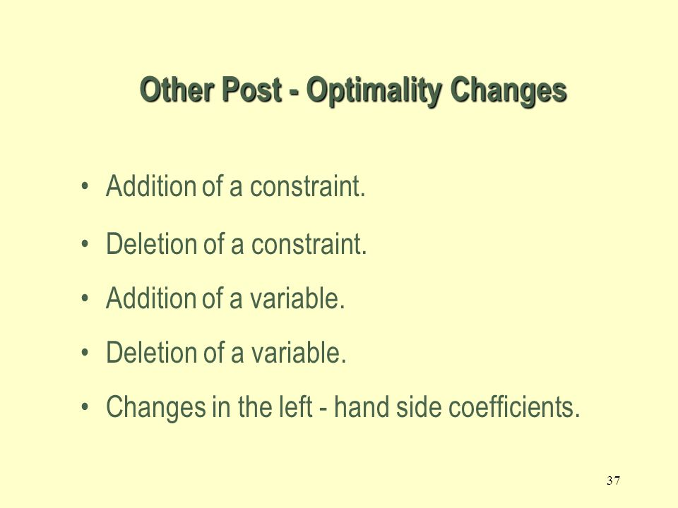 Other Post - Optimality Changes