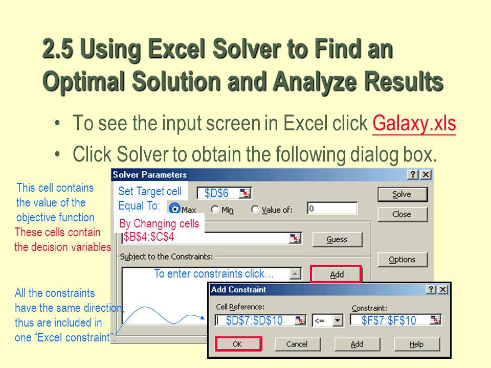 2.5 Using Excel Solver to Find an Optimal Solution and Analyze Results
