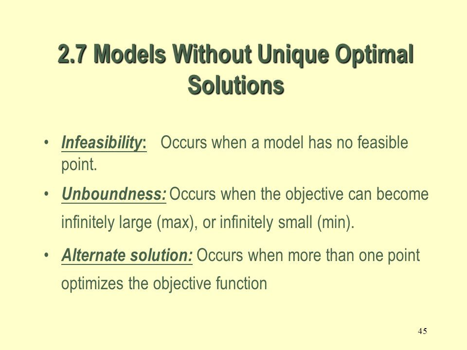 2.7 Models Without Unique Optimal Solutions