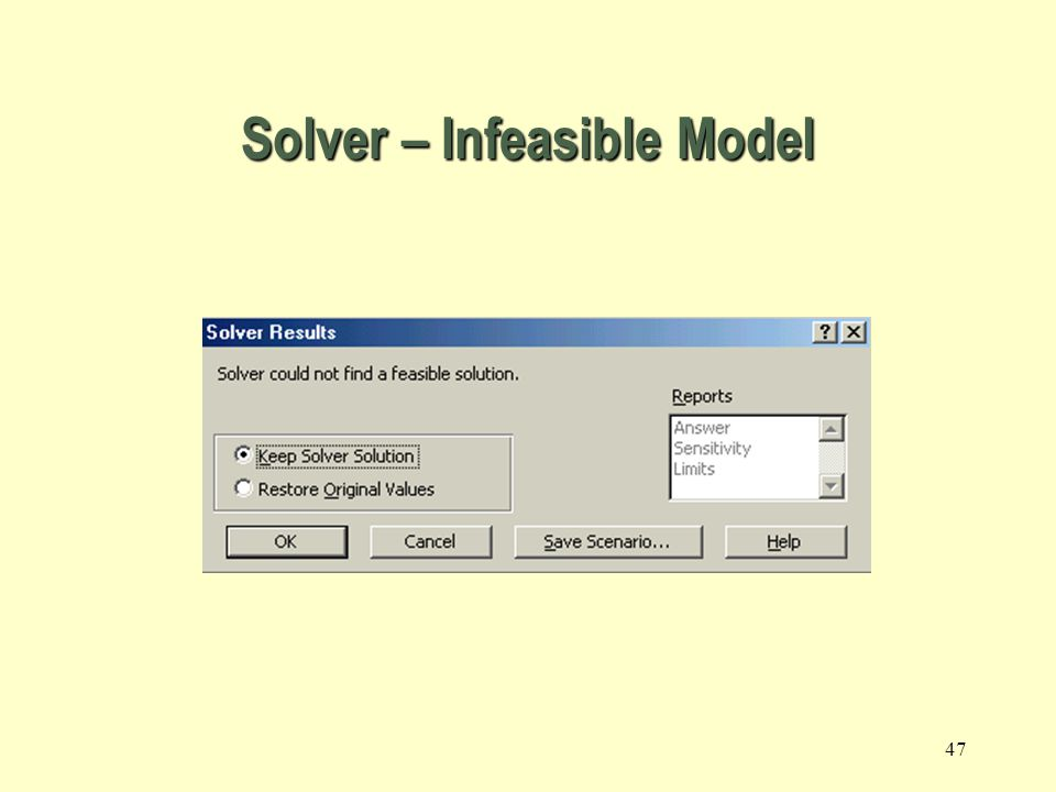 Solver – Infeasible Model