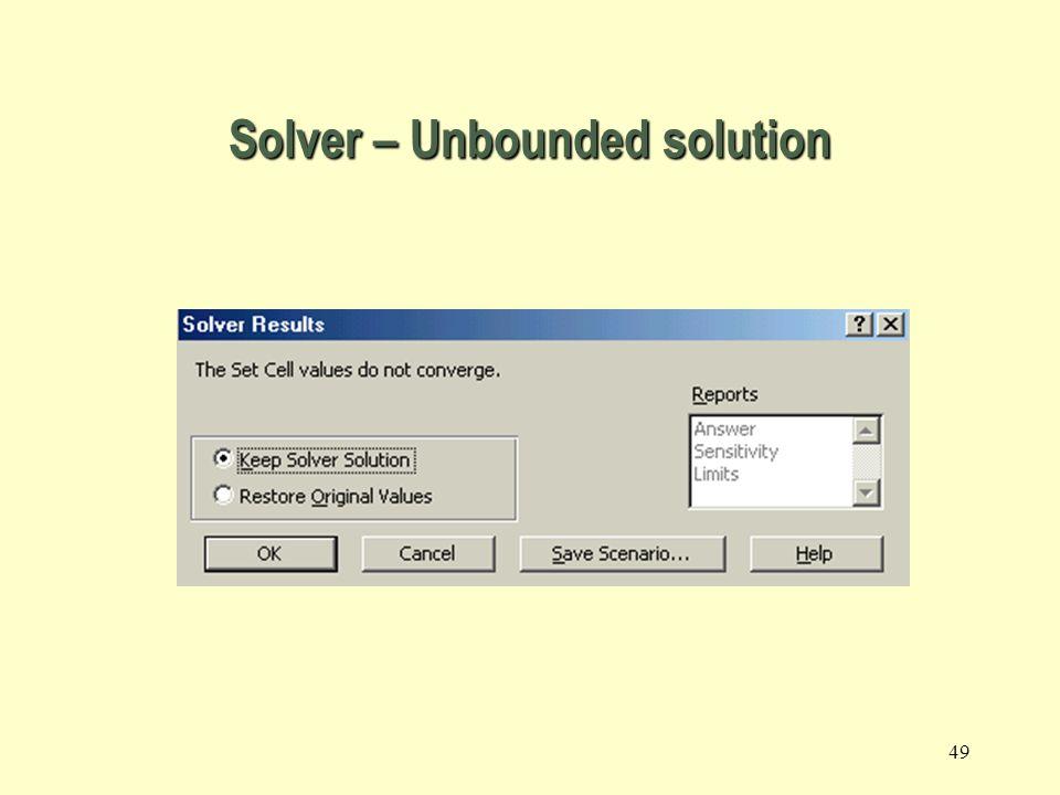 Solver – Unbounded solution