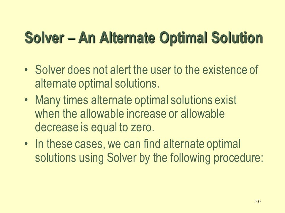 Solver – An Alternate Optimal Solution