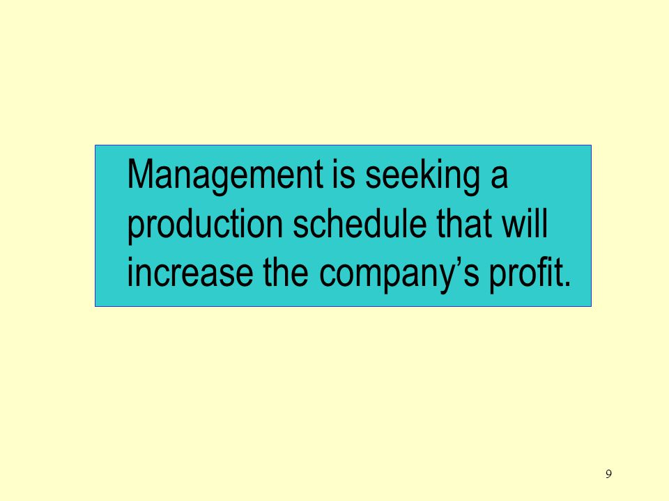 Management is seeking a production schedule that will increase the company's profit.