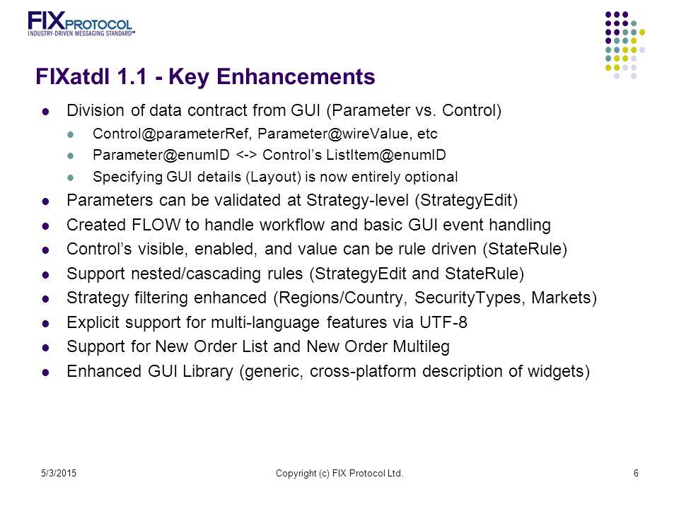 FIXatdl 1.1 - Key Enhancements