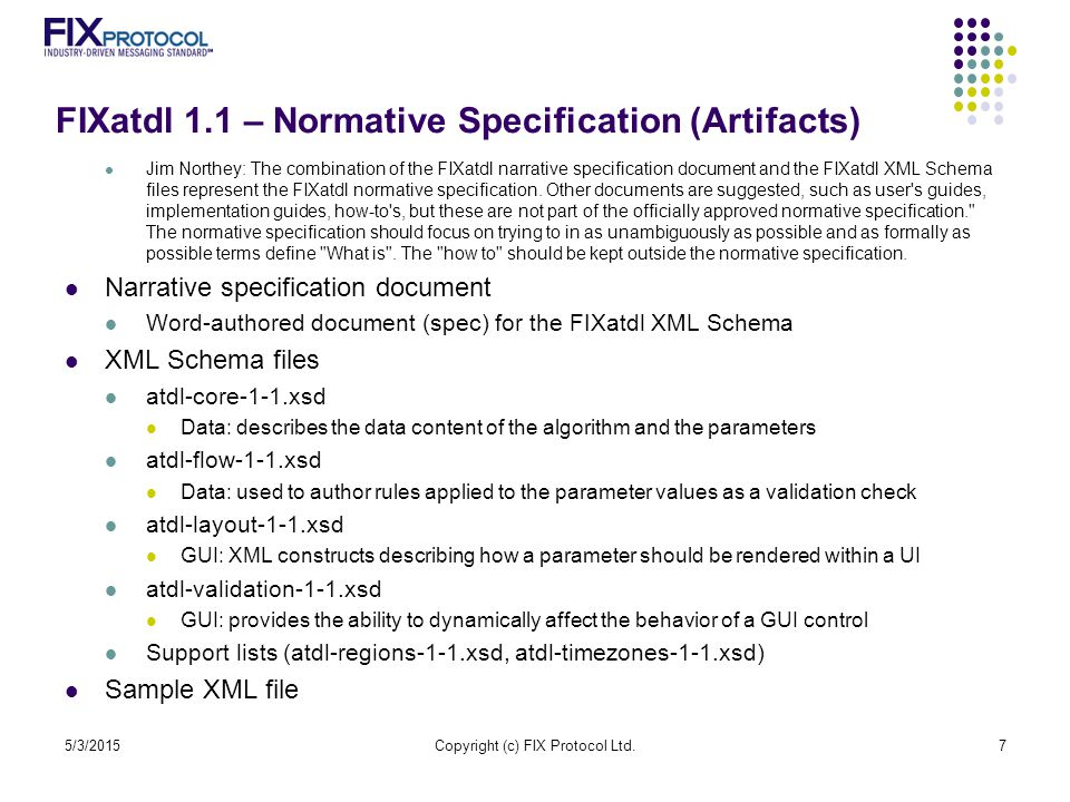 FIXatdl 1.1 – Normative Specification (Artifacts)