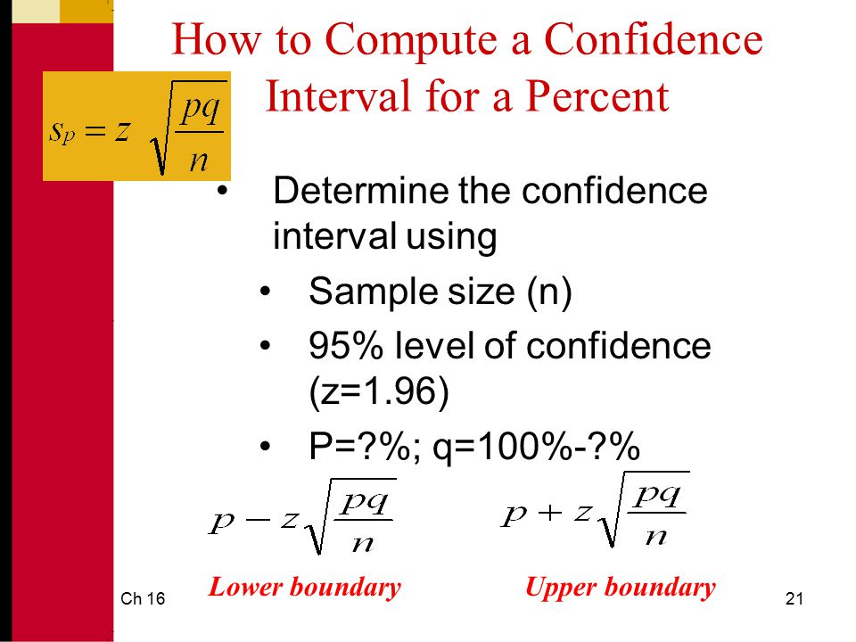 How to Compute a Confidence Interval for a Percent