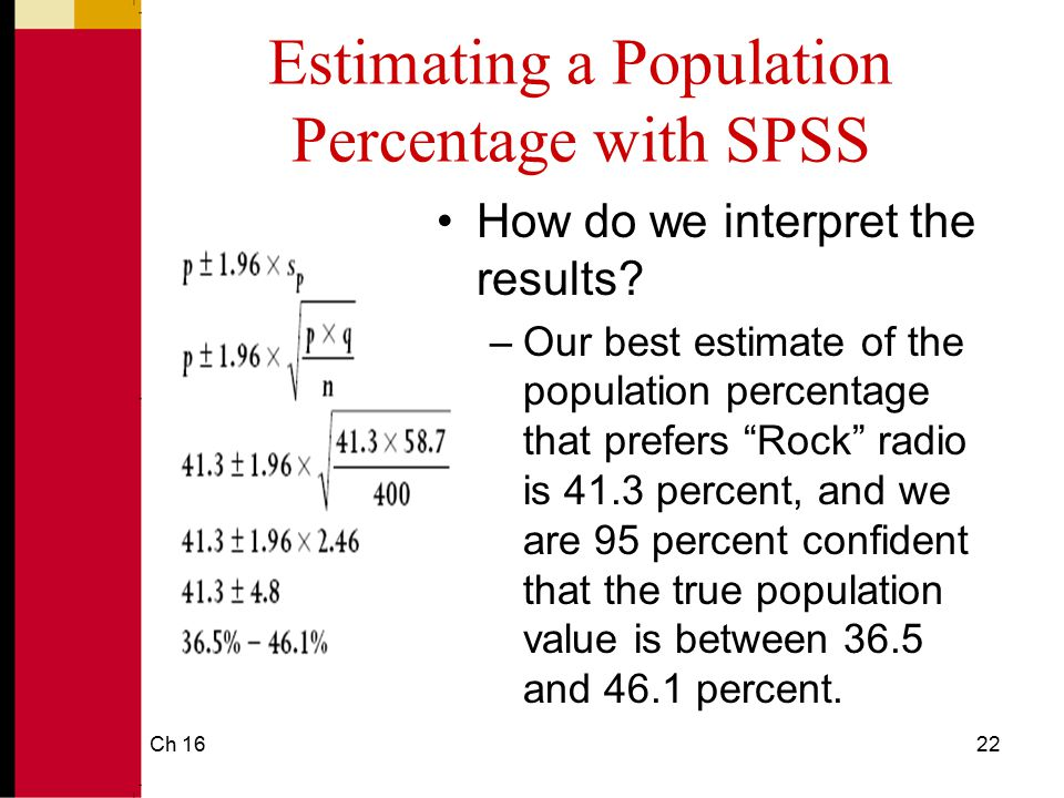 Estimating a Population Percentage with SPSS