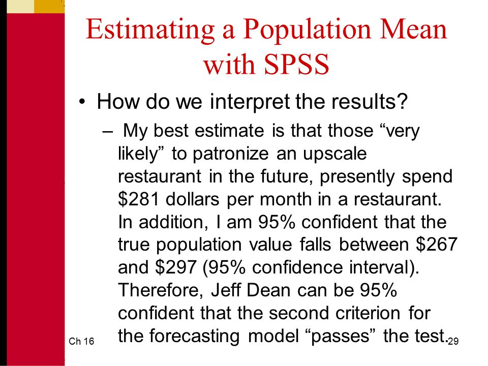 Estimating a Population Mean with SPSS