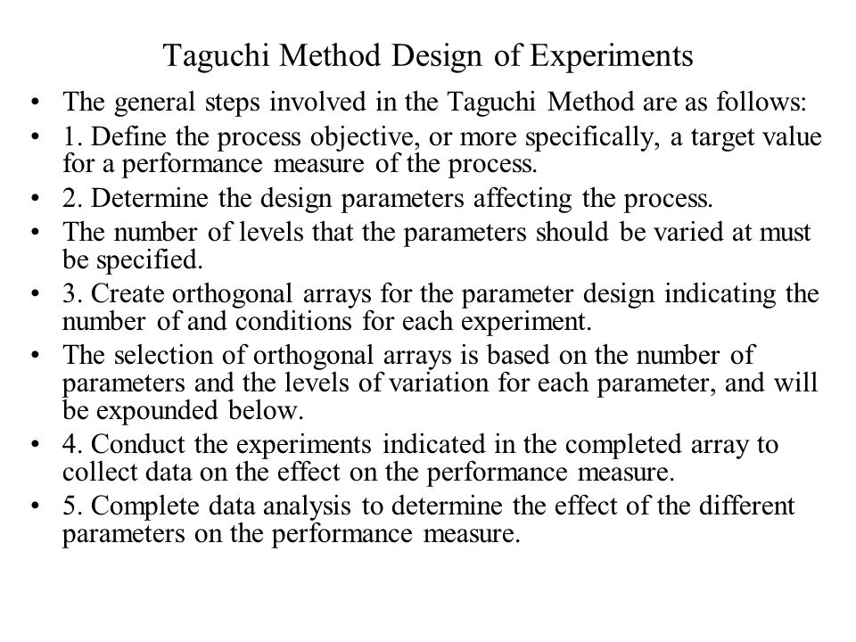 Taguchi Method Design of Experiments