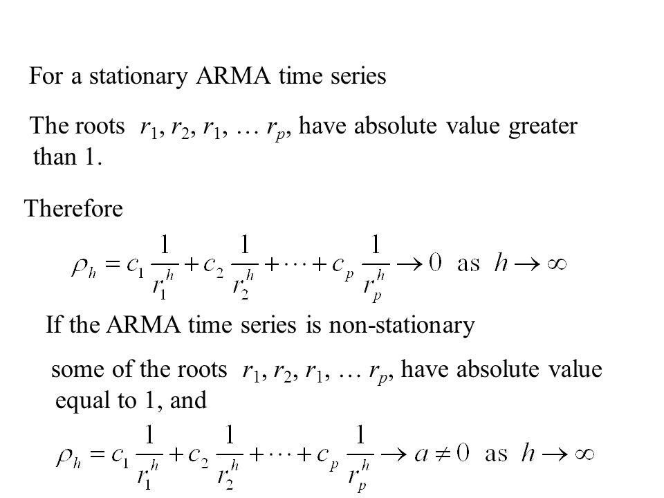 For a stationary ARMA time series