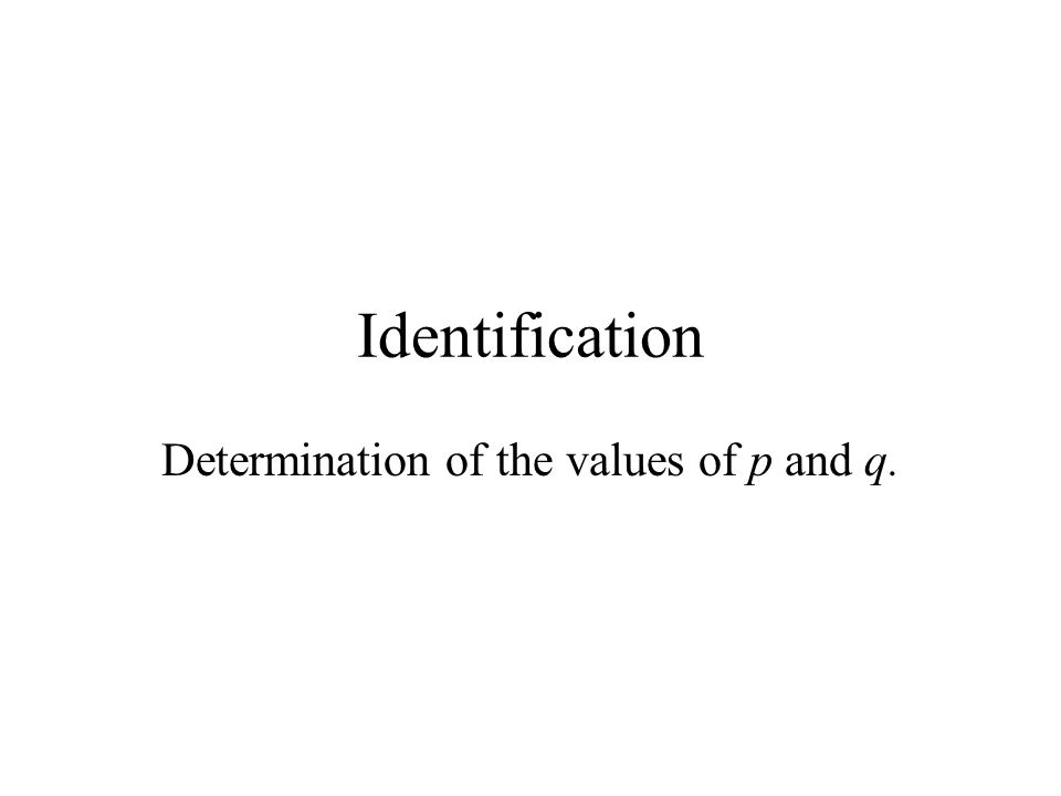 Determination of the values of p and q.