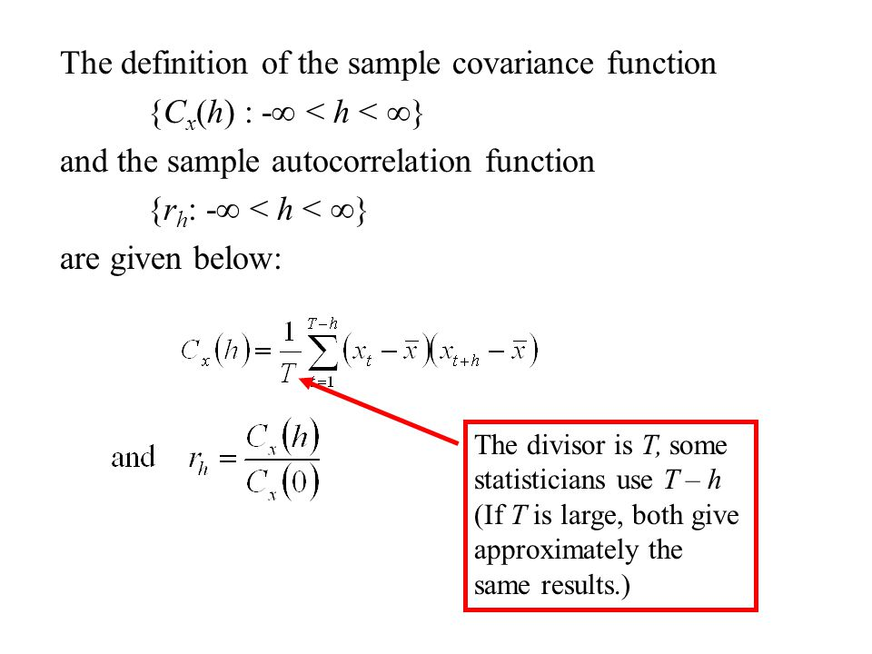 The definition of the sample covariance function