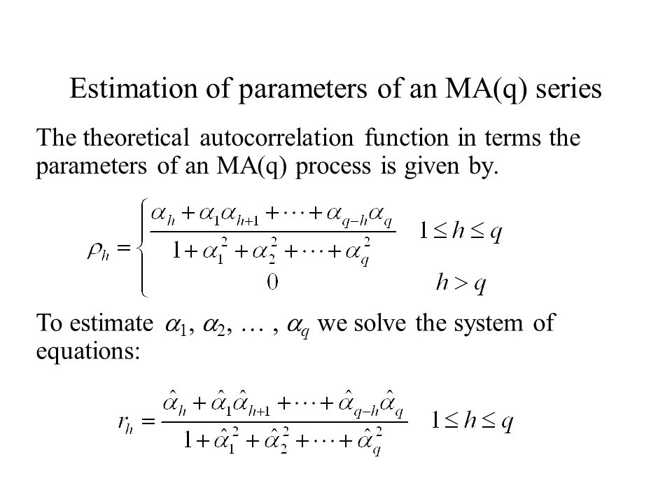 Estimation of parameters of an MA(q) series