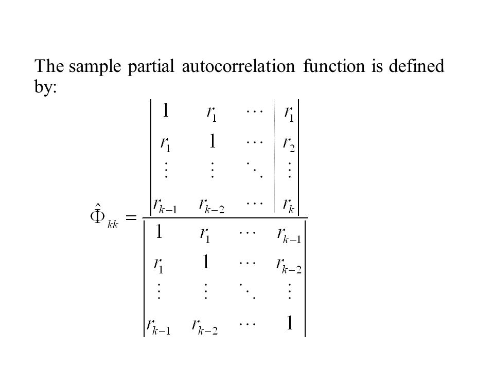 The sample partial autocorrelation function is defined by: