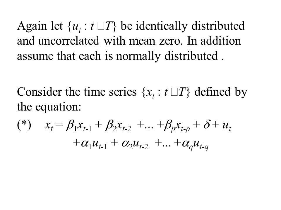 Again let {ut : t ÎT} be identically distributed and uncorrelated with mean zero. In addition assume that each is normally distributed .