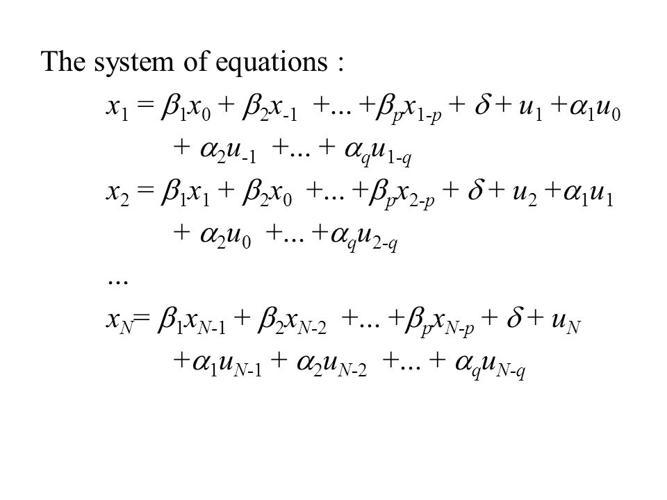 The system of equations :