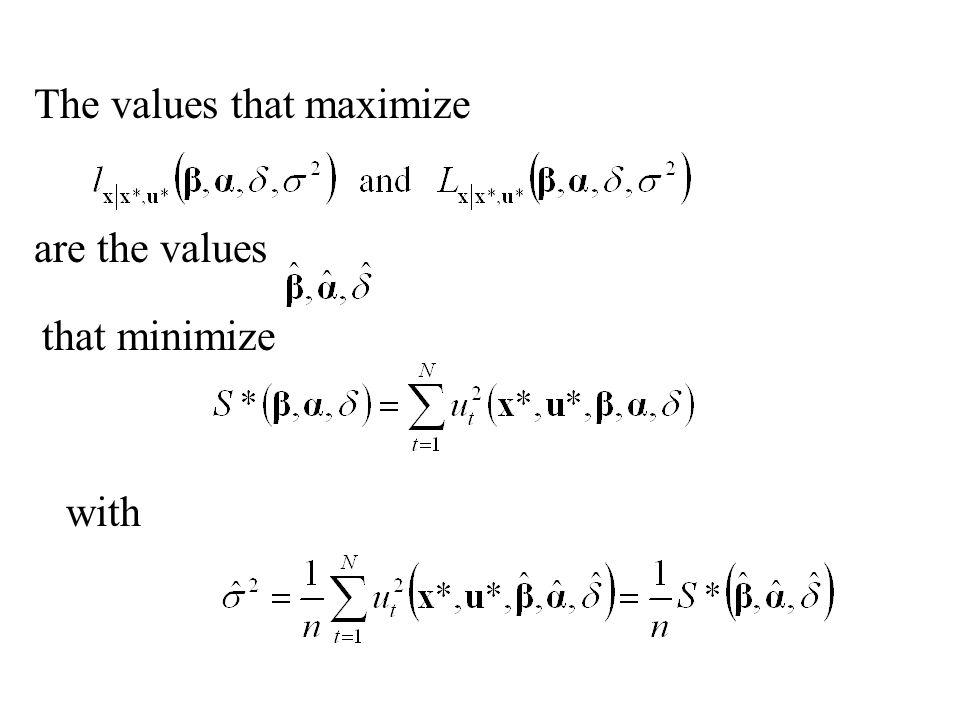 The values that maximize