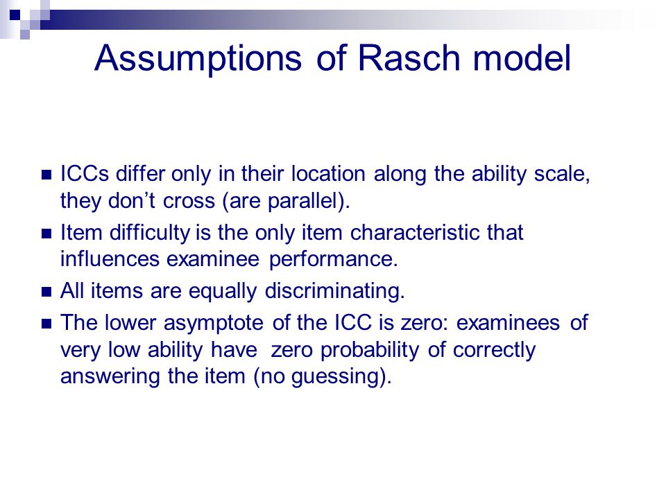 Assumptions of Rasch model