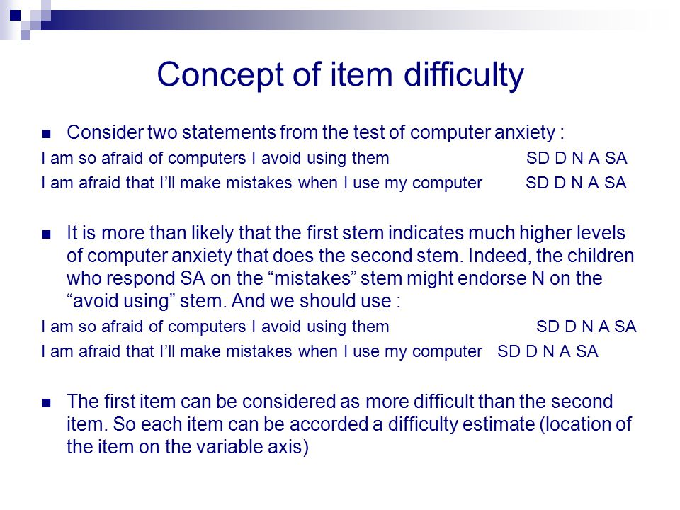 Concept of item difficulty