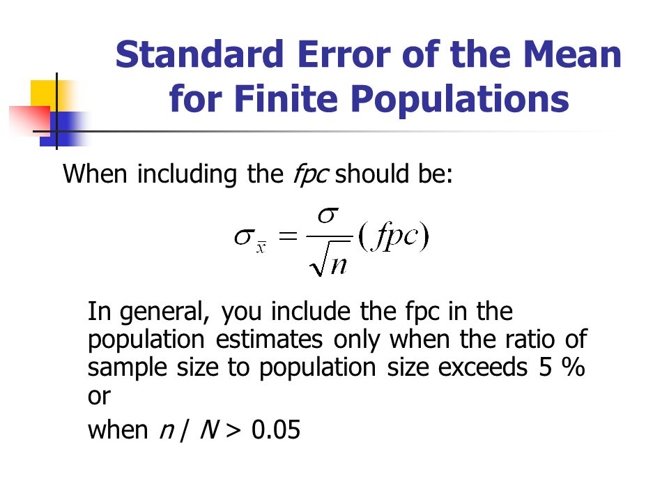 Standard Error of the Mean for Finite Populations