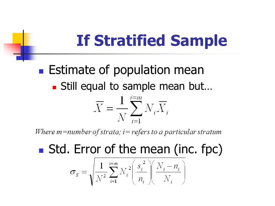 If Stratified Sample Estimate of population mean