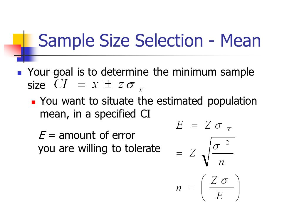 Sample Size Selection - Mean
