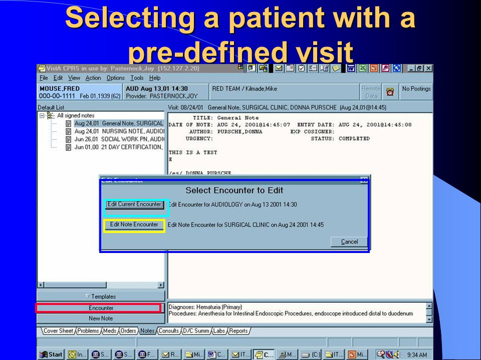Selecting a patient with a pre-defined visit