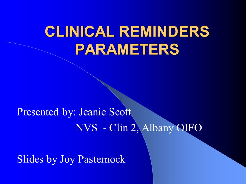 CLINICAL REMINDERS PARAMETERS