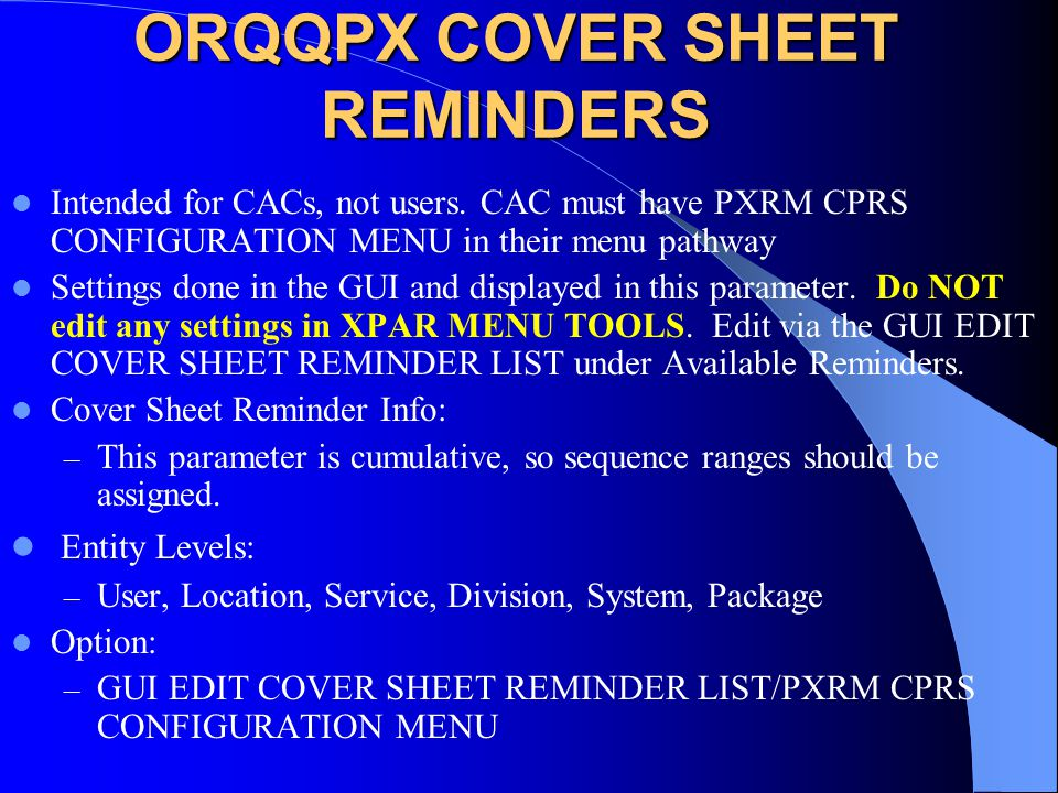 ORQQPX COVER SHEET REMINDERS
