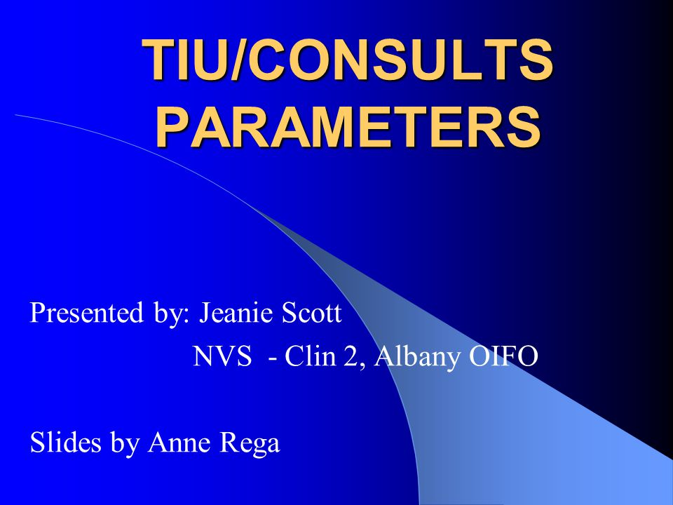 TIU/CONSULTS PARAMETERS