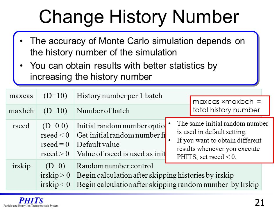 Change History Number The accuracy of Monte Carlo simulation depends on the history number of the simulation.