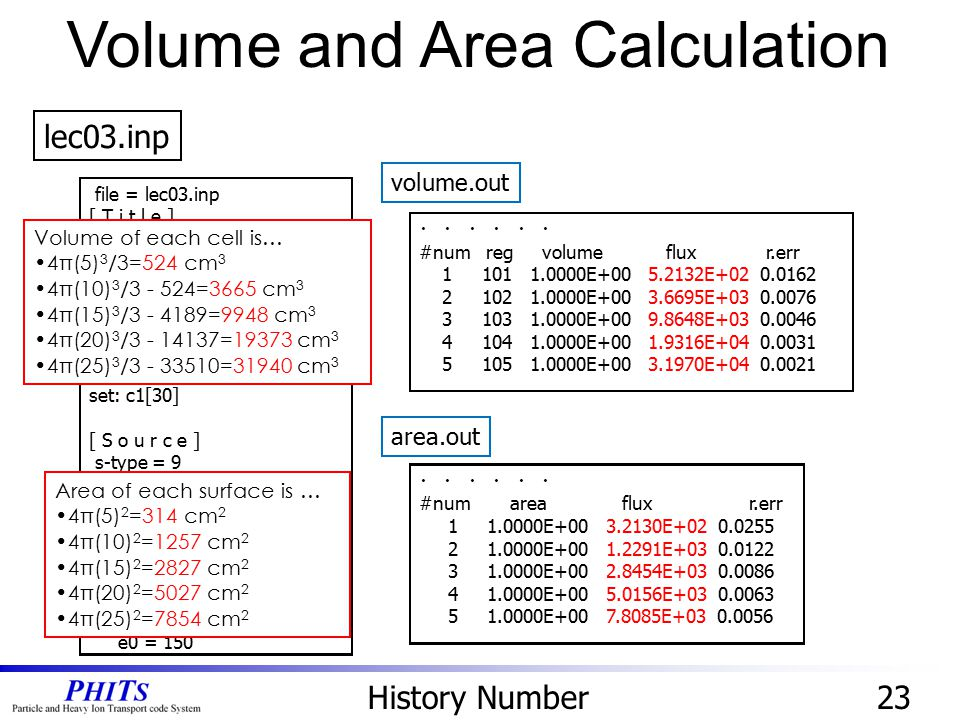 Volume and Area Calculation