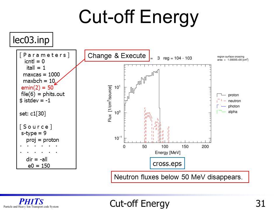Cut-off Energy lec03.inp Cut-off Energy 31 Change & Execute cross.eps