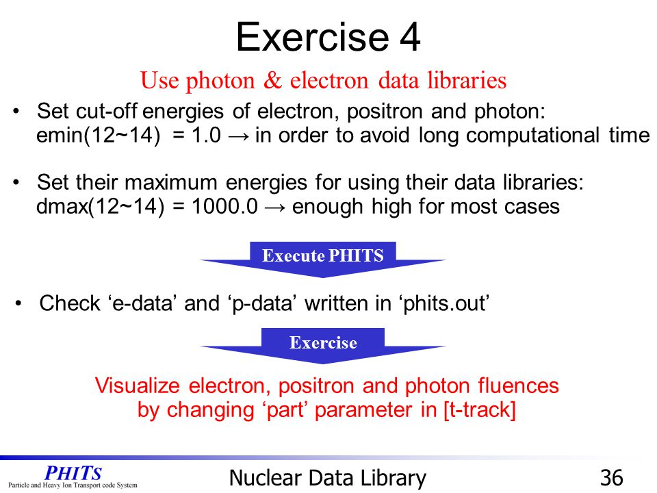 Exercise 4 Use photon & electron data libraries
